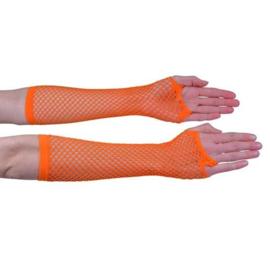 Nethandschoen lang fluor oranje