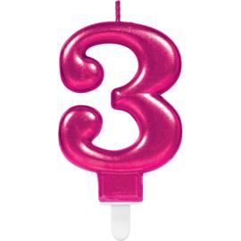Verjaardag Kaars 3 jaar- Roze 7.5 cm