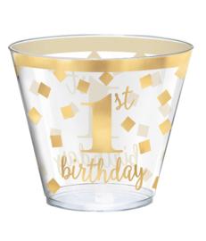 Feestbekers 1st  Birthday Goud - 30 Stuks