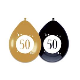 Ballonnen Festive Gold '50' (Ø30cm, 6st)