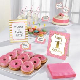 Decoratiekit eerste verjaardag buffet roze 12-delig