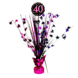 Roze Feest 40 Jaar Tafeldecoratie - 46 cm