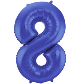 Cijfer 8 Mat Blauw - 86 cm