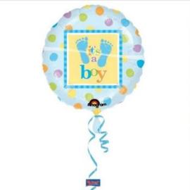 Folieballon geboorte Jongen It's a Boy Voetjes 45 cm