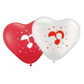 Hartballonnen Bruidspaar Wit - Rood