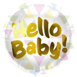 Folieballon 'Hello Baby!' Meerkleurige Driehoeken - 45cm