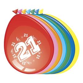 Latex Ballonnen 21 jaar 8 Stuks
