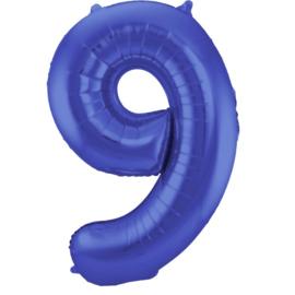 Cijfer 9 Blauw Mat 86 cm