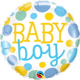 Folieballon Baby Boy Dots - 45 cm