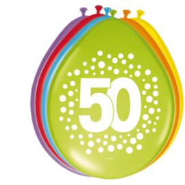 Ballonnen 50 Jaar Happy Bday Stippen 30cm - 8 stuks
