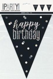 Vlaggenlijn 'Happyy Birthday' Glitter Zwart & Zilver