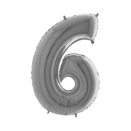 Cijfer 6 Zilver 100 cm