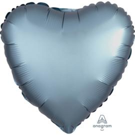 Folieballon hart satin staalblauw (43cm)