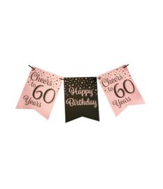 Party flag banner rosé/black - 60