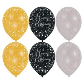 Ballonnen sparkling gold Happy Birthday (Ø28cm,6st)