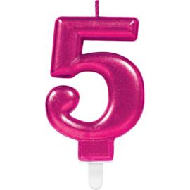 Verjaardag Kaars 5 jaar- Roze 7.5 cm