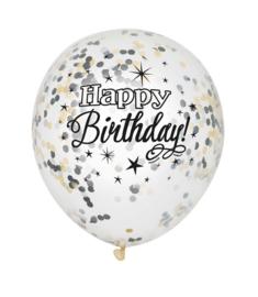 """Confetti ballonnen """"Happy Birthday"""" -  6 stuks"""