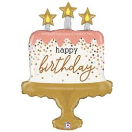 Folieballon Happy Birthday 'Glitter Taart' - 84 cm