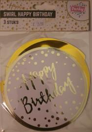 Swirl met Happy Birthday 3 stuks Goud - Wit