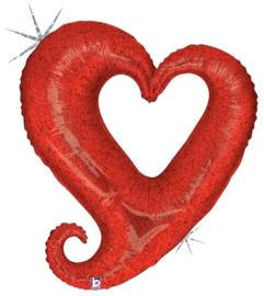 Folieballon chain of hearts red - 94 cm