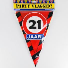 Vlaggenlijn Party 21 Jaar Verkeersbord