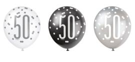 """Ballonnen Black & Silver Glitz """"50"""" - 30 cm (6 stuks)"""