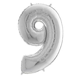 Cijfer 9 Zilver - 66 cm