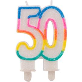 50 Jaar Glitterkaarsjes met 2 houders