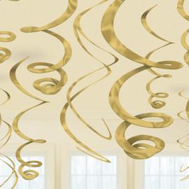 Gouden Hangende Swirls Decoraties - 55 cm