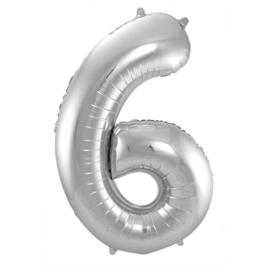 Cijfer 6 Zilver - 86 cm
