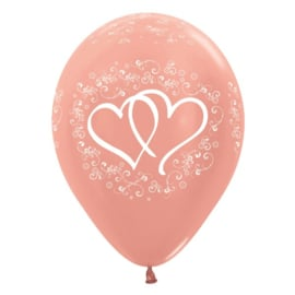 Ballon Verstrengelde harten Rosé Goud Metallic (1st)