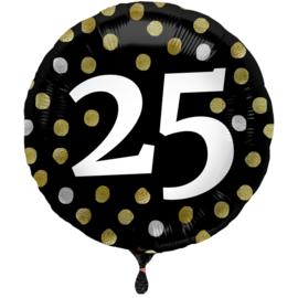 Folieballon Glossy Black 25 Jaar - 45 cm