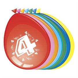 Ballonnen 4 jaar (Ø30cm, 8st)