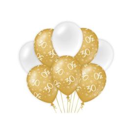 Ballonnen 30 jaar Goud & Wit - 8 stuks