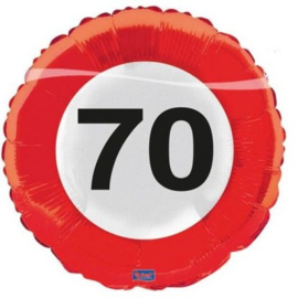 Folieballon 70 Jaar Verkeersbord - 45 cm
