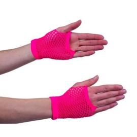 Nethandschoen kort fluor pink