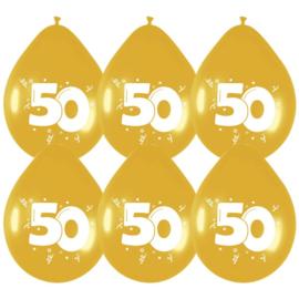 Ballonnen 50 Goud - 6 stuks
