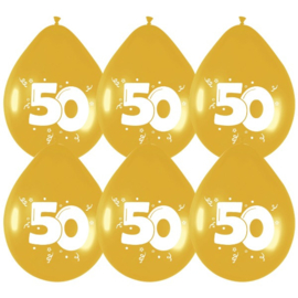 Ballonnen 50 Goud 6 stuks 30 cm