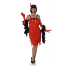 Rode Jaren 20 Flapper Charleston jurk 3-delig