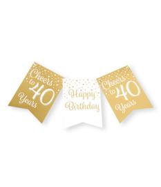 Party flag banner gold/white - 40