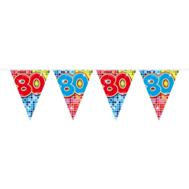 80 Jaar Mini Vlaggenlijn Birthday Blocks - 3 meter