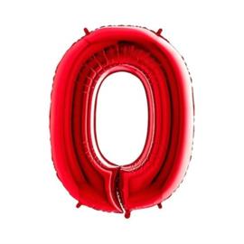 Cijfer 0 Rood 100 cm