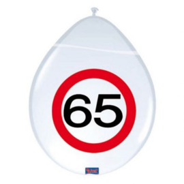 65 Jaar Verkeersbord Ballonnen - 8 stuks