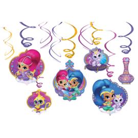 Decoratie swirl Shimmer & Shine 6 stuks