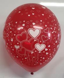 Latex Ballonnen Rood Bedrukt met Hartjes 10 stuks