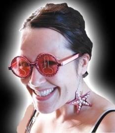 Bril met roze glazen incl. piemel opdruk & sterren hangers
