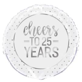 """Folieballon """"Cheers to 25 years"""" - 45 cm"""