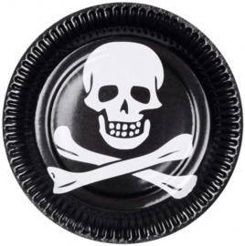 Bordjes piraat 23 cm karton zwart/wit 6 stuks