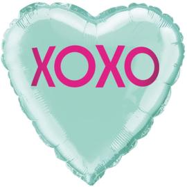 Folieballon hart XOXO - 45 cm