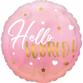 Folieballon Hello World Roze - 43 cm